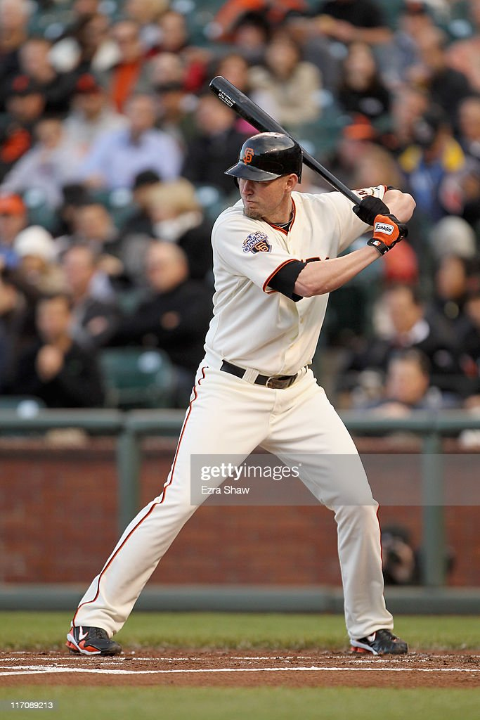 <a gi-track='captionPersonalityLinkClicked' href=/galleries/search?phrase=Nate+Schierholtz&family=editorial&specificpeople=803208 ng-click='$event.stopPropagation()'>Nate Schierholtz</a> #12 of the San Francisco Giants bats against the Cincinnati Reds at AT&T Park on June 9, 2011 in San Francisco, California.