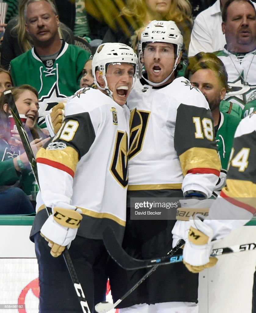 Nate Schmidt #88 and James Neal #18 of the Vegas Golden Knights react after Neal scored a goal against the Dallas Stars during the season opening game at American Airlines Center on October 6, 2017 in Dallas, Texas. Vegas won 2-1.