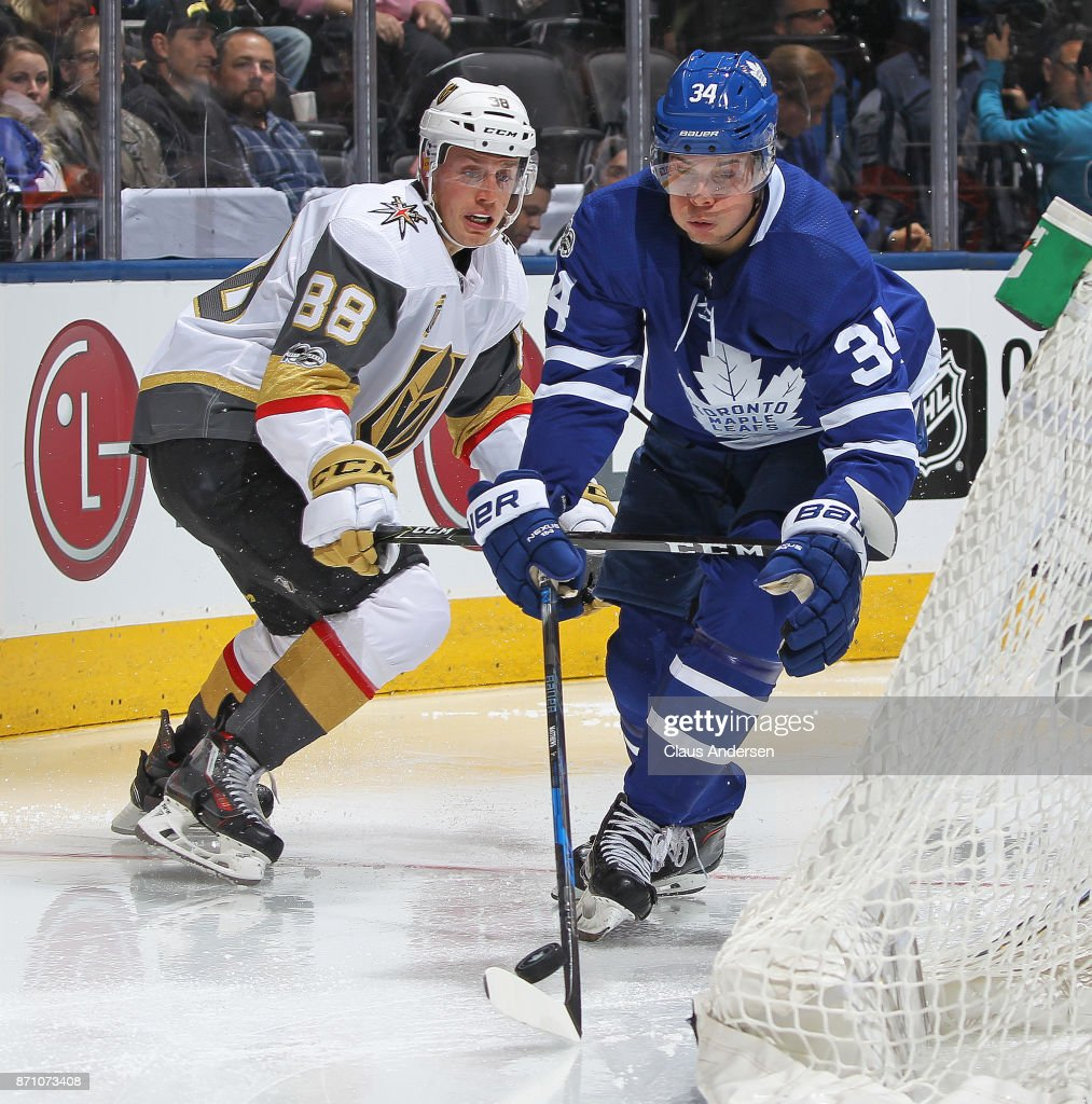 Nate Schmidt #88 of the Vegas Golden Knights skates against Auston Matthews #34 of the Toronto Maple Leafs during an NHL game at the Air Canada Centre on November 6, 2017 in Toronto, Ontario, Canada. The Maple Leafs defeated the Golden Knights 4-3 in an overtime shoot-out.