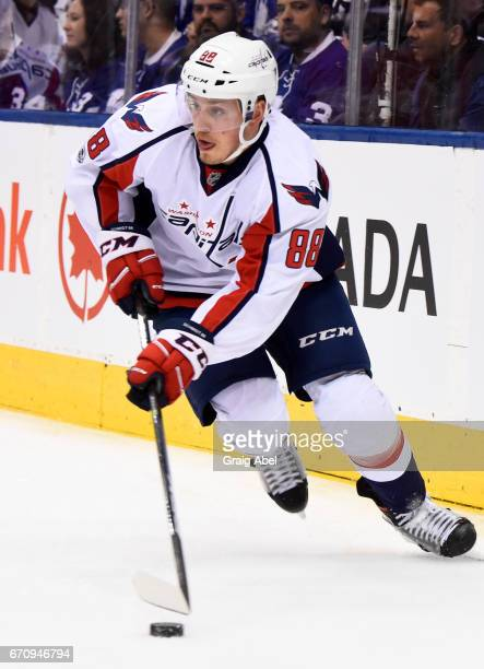 Nate Schmidt of the Washington Capitals skates against the Toronto Maple Leafs during the first period in Game Four of the Eastern Conference First...