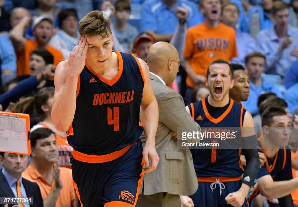 Nate Sestina of the Bucknell Bison reacts after making a threepoint basket against the North Carolina Tar Heels during their game at the Dean Smith...