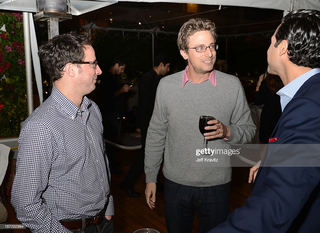 Nate Silver (L), BuzzFeed CEO and founder Jonah Peretti (C) and guest attend BuzzFeed's Los Angeles Bureau Party at SkyBar at the Mondrian Los Angeles on November 29, 2012 in West Hollywood, California.