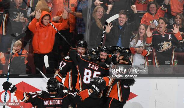 Nate Thompson Hampus Lindholm Rickard Rakell Ondrej Kase and Brandon Montour of the Anaheim Ducks celebrate a goal in the third period in Game One of...
