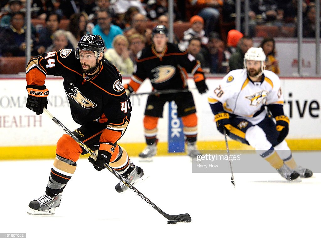 Nate Thompson #44 of the Anaheim Ducks breaks in for a shot against the Nashville Predators at Honda Center on January 4, 2015 in Anaheim, California.