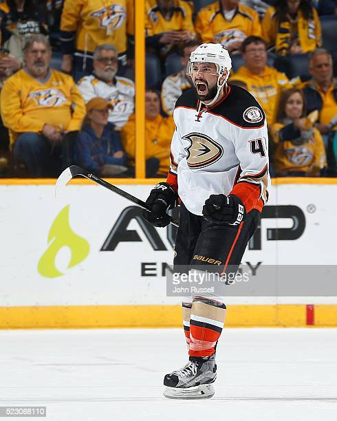 Nate Thompson of the Anaheim Ducks celebrates his goal against the Nashville Predators in Game Four of the Western Conference First Round during the...