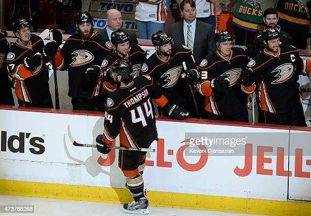 Nate Thompson of the Anaheim Ducks celebrates his goal with teammates in the third period of Game One of the Western Conference Finals against the...
