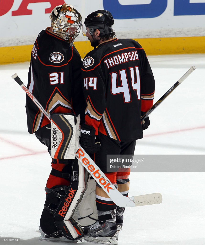 Nate Thompson #44 of the Anaheim Ducks celebrates with goalie Frederik Andersen #31 after defeating the Calgary Flames 3-0 in Game Two of the Western Conference Semifinals during the 2015 NHL Stanley Cup Playoffs at Honda Center on May 3, 2015 in Anaheim, California.