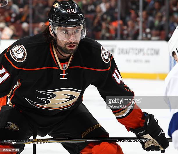 Nate Thompson of the Anaheim Ducks looks on during the game against the Tampa Bay Lightning on December 2 2015 at Honda Center in Anaheim California