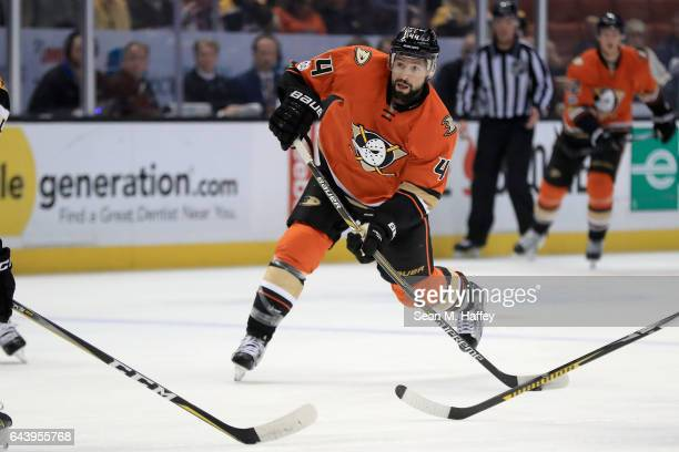 Nate Thompson of the Anaheim Ducks shoots the puck during the first period of a game against the Boston Bruins at Honda Center on February 22 2017 in...