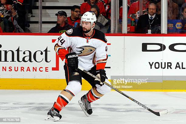 Nate Thompson of the Anaheim Ducks skates against the Calgary Flames at Scotiabank Saddledome on March 11 2015 in Calgary Alberta Canada The Flames...