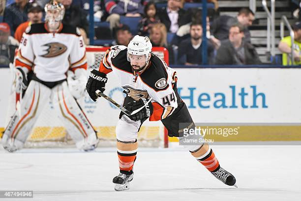Nate Thompson of the Anaheim Ducks skates against the Columbus Blue Jackets on March 24 2015 at Nationwide Arena in Columbus Ohio