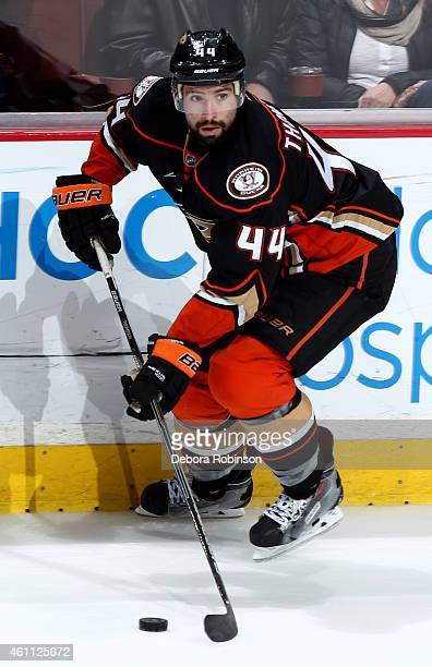 Nate Thompson of the Anaheim Ducks skates against the Nashville Predators on January 4 2015 at Honda Center in Anaheim California
