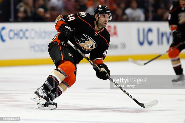 Nate Thompson of the Anaheim Ducks skates during the first period of a game against the Buffalo Sabres at Honda Center on February 24 2016 in Anaheim...