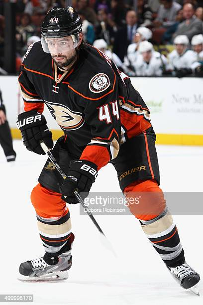 Nate Thompson of the Anaheim Ducks skates during the game against the San Jose Sharks on December 4 2015 at Honda Center in Anaheim California