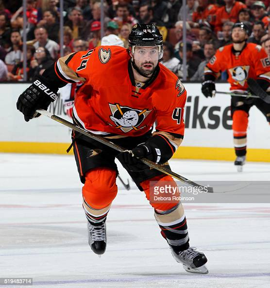 Nate Thompson of the Anaheim Ducks skates during the game against the Washington Capitals on March 7 2016 at Honda Center in Anaheim California