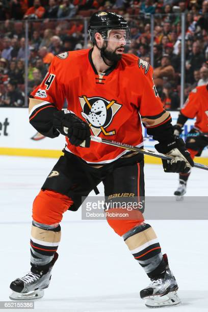 Nate Thompson of the Anaheim Ducks skates during the game against the Nashville Predators on March 7 2017 at Honda Center in Anaheim California