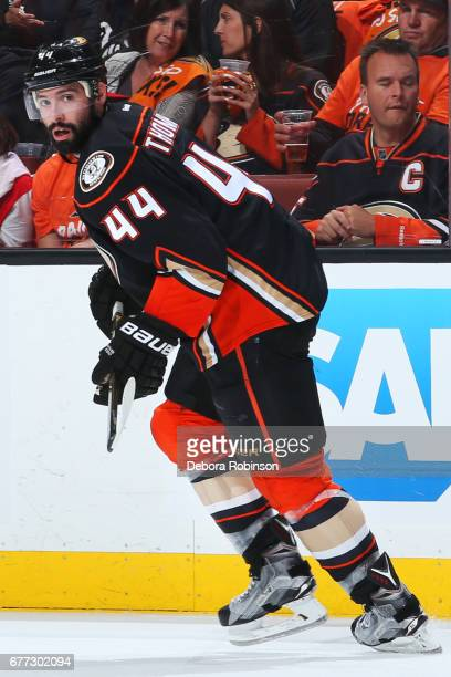 Nate Thompson of the Anaheim Ducks skates in Game One of the Western Conference Second Round against the Edmonton Oilers during the 2017 NHL Stanley...