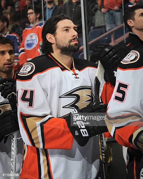 Nate Thompson of the Anaheim Ducks stands for the singing of the national anthem prior to the game against the Edmonton Oilers on February 16 2016 at...