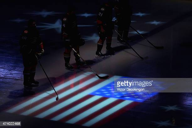 Nate Thompson of the Anaheim Ducks stands on the ice during the singing of the national anthem before playing the Chicago Blackhawks in Game Two of...