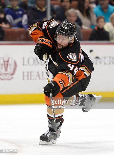 Nate Thompson of the Anaheim Ducks takes a shot against the Nashville Predators at Honda Center on January 4 2015 in Anaheim California
