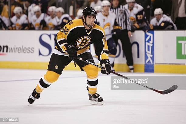 Nate Thompson of the Boston Bruins skates against the Buffalo Sabres at TD Banknorth Garden on October 21 2006 in Boston Massachusetts The Sabres won...