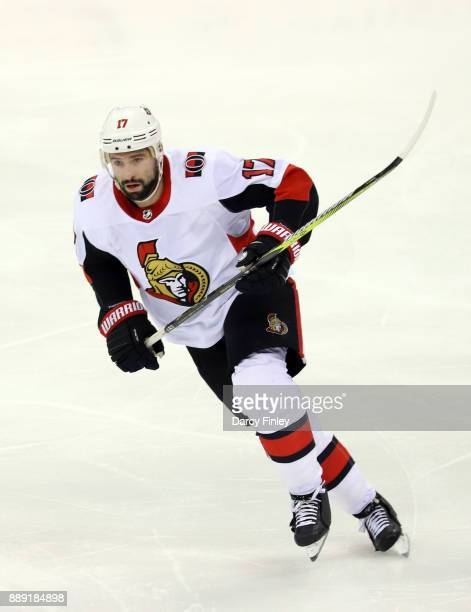 Nate Thompson of the Ottawa Senators follows the play down the ice during second period action against the Winnipeg Jets at the Bell MTS Place on...