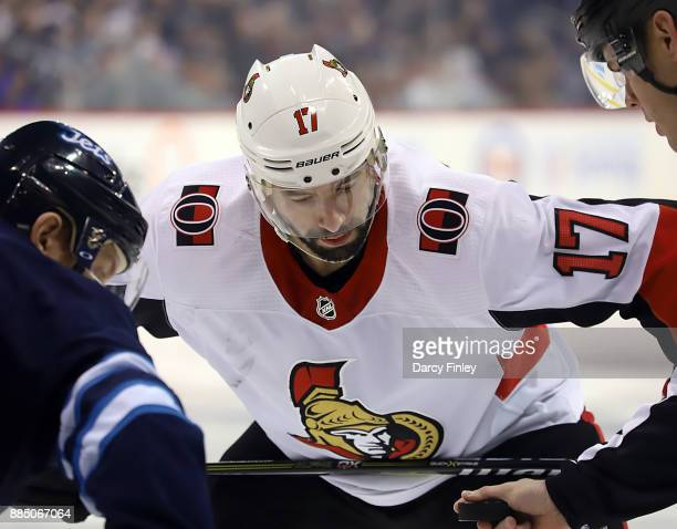 Nate Thompson of the Ottawa Senators gets set for a third period faceoff against the Winnipeg Jets at the Bell MTS Place on December 3 2017 in...