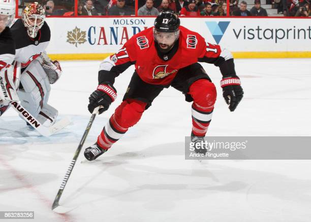 Nate Thompson of the Ottawa Senators skates against the New Jersey Devils at Canadian Tire Centre on October 19 2017 in Ottawa Ontario Canada