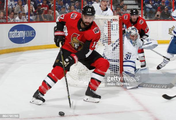 Nate Thompson of the Ottawa Senators stickhandles the puck as Frederik Andersen of the Toronto Maple Leafs guards his net at Canadian Tire Centre on...