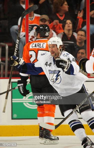 Nate Thompson of the Tampa Bay Lightning celebrates a first period goal against the Philadelphia Flyers on November 18 2010 at the Wells Fargo Center...