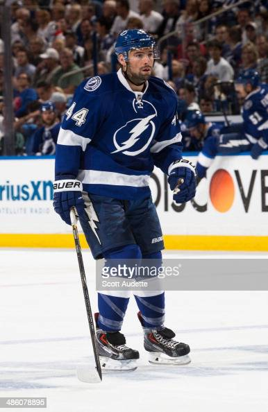 Nate Thompson of the Tampa Bay Lightning skates against the Montreal Canadiens in Game Two of the First Round of the 2014 Stanley Cup Playoffs at the...