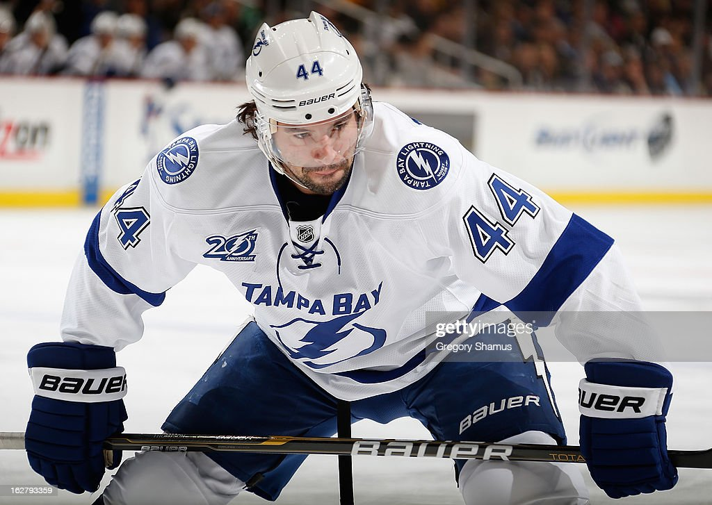 Nate Thompson #44 of the Tampa Bay Lightning skates against the Pittsburgh Penguins on February 24, 2013 at Consol Energy Center in Pittsburgh, Pennsylvania.