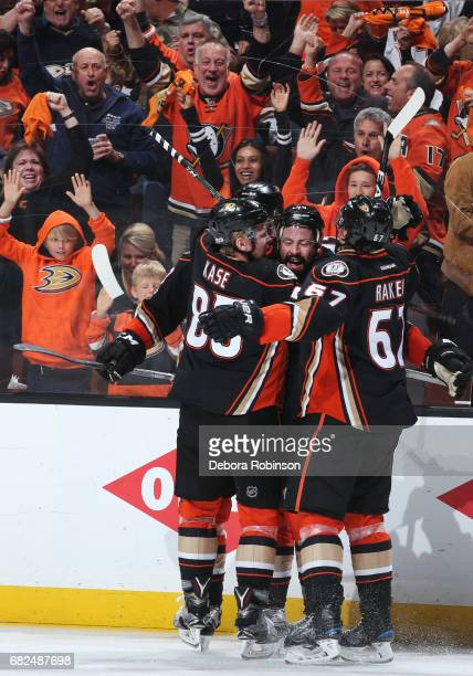 Nate Thompson Ondrej Kase and Rickard Rakell of the Anaheim Ducks celebrate a goal in the third period in Game One of the Western Conference Final...