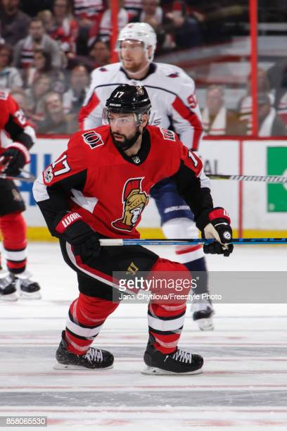 Nate Thompson skates in his first game as a member of the Ottawa Senators in a game against the Washington Capitals at Canadian Tire Centre on...