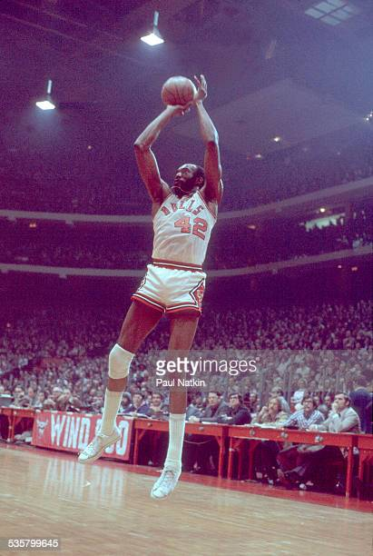 Nate Thurmond of the Chicago Bulls shoots during a game Chicago Illinois 1972