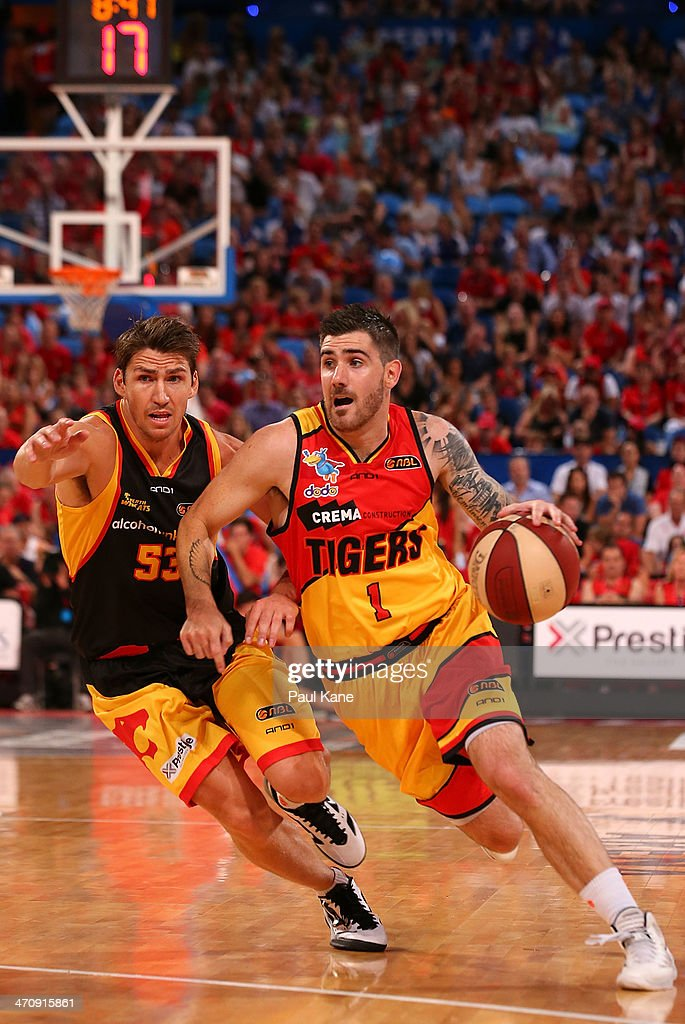 Nate Tomlinson of the Tigers brings the ball down the court against Damian Martin of the Wildcats during the round 19 NBL match between the Perth Wildcats and the Melbourne Tigers at Perth Arena on February 21, 2014 in Perth, Australia.