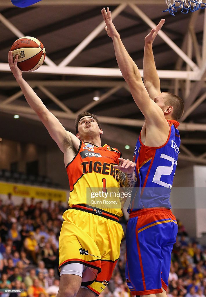 Nate Tomlinson of the Tigers shoots during the round three NBL match between the Melbourne Tigers and the Adelaide 36ers at the State Netball Hockey Centre in October 27, 2013 in Melbourne, Australia.