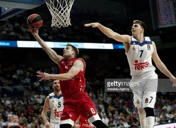 Nate Wolters of Crvena zvezda in action against Luka Doncic of Real Madrid during the Turkish Airlines Euroleague basketball match between Real...