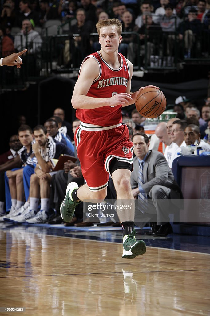 <a gi-track='captionPersonalityLinkClicked' href=/galleries/search?phrase=Nate+Wolters&family=editorial&specificpeople=9023990 ng-click='$event.stopPropagation()'>Nate Wolters</a> #6 of the Milwaukee Bucks dribbles the ball against the Dallas Mavericks on December 14, 2013 at the American Airlines Center in Dallas, Texas.