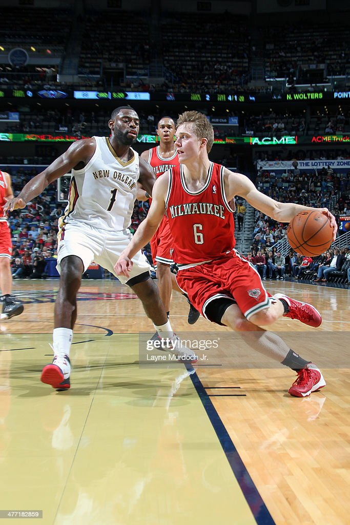 <a gi-track='captionPersonalityLinkClicked' href=/galleries/search?phrase=Nate+Wolters&family=editorial&specificpeople=9023990 ng-click='$event.stopPropagation()'>Nate Wolters</a> #6 of the Milwaukee Bucks handles the ball against the New Orleans Pelicans on March 7, 2014 at the Smoothie King Center in New Orleans, Louisiana.