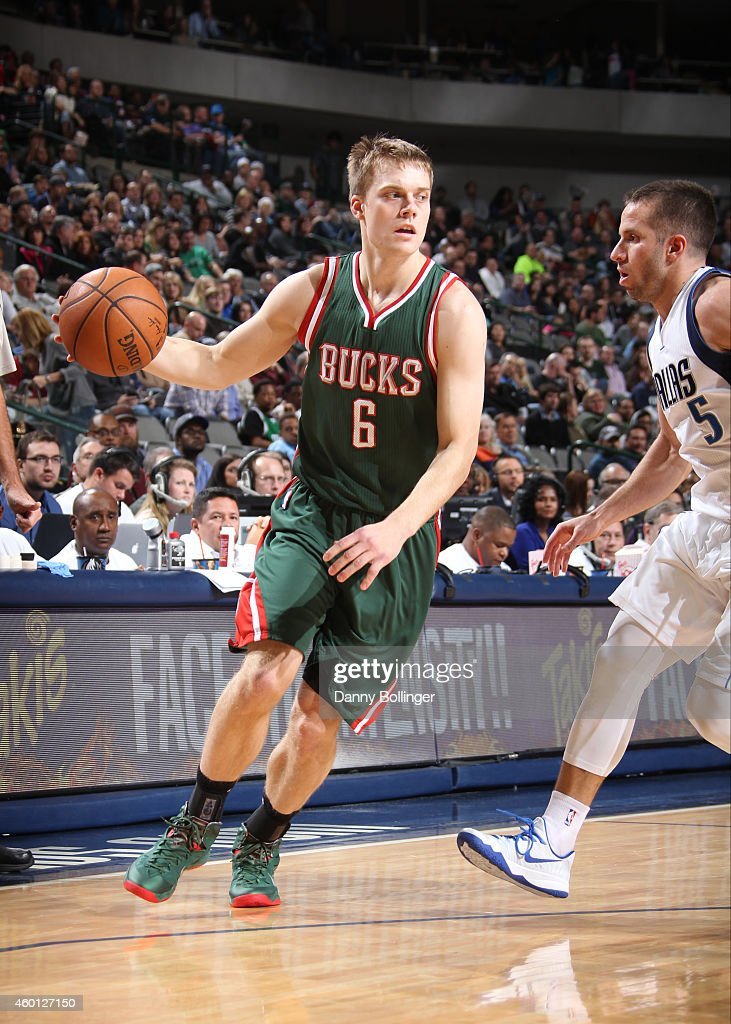 <a gi-track='captionPersonalityLinkClicked' href=/galleries/search?phrase=Nate+Wolters&family=editorial&specificpeople=9023990 ng-click='$event.stopPropagation()'>Nate Wolters</a> #6 of the Milwaukee Bucks handles the ball against the Dallas Mavericks on December 7, 2014 at the American Airlines Center in Dallas, Texas.