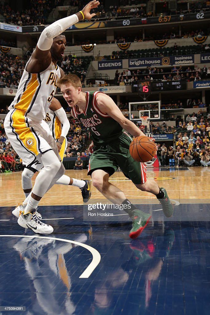<a gi-track='captionPersonalityLinkClicked' href=/galleries/search?phrase=Nate+Wolters&family=editorial&specificpeople=9023990 ng-click='$event.stopPropagation()'>Nate Wolters</a> #6 of the Milwaukee Bucks handles the ball during a game against the Indiana Pacers at Bankers Life Fieldhouse on February 25, 2014 in Indianapolis, Indiana.