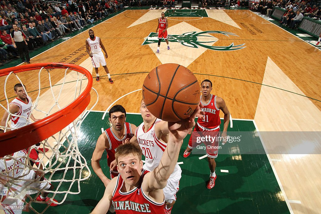 Nate Wolters #6 of the Milwaukee Bucks shoots against the Houston Rockets on February 8, 2014 at the BMO Harris Bradley Center in Milwaukee, Wisconsin.