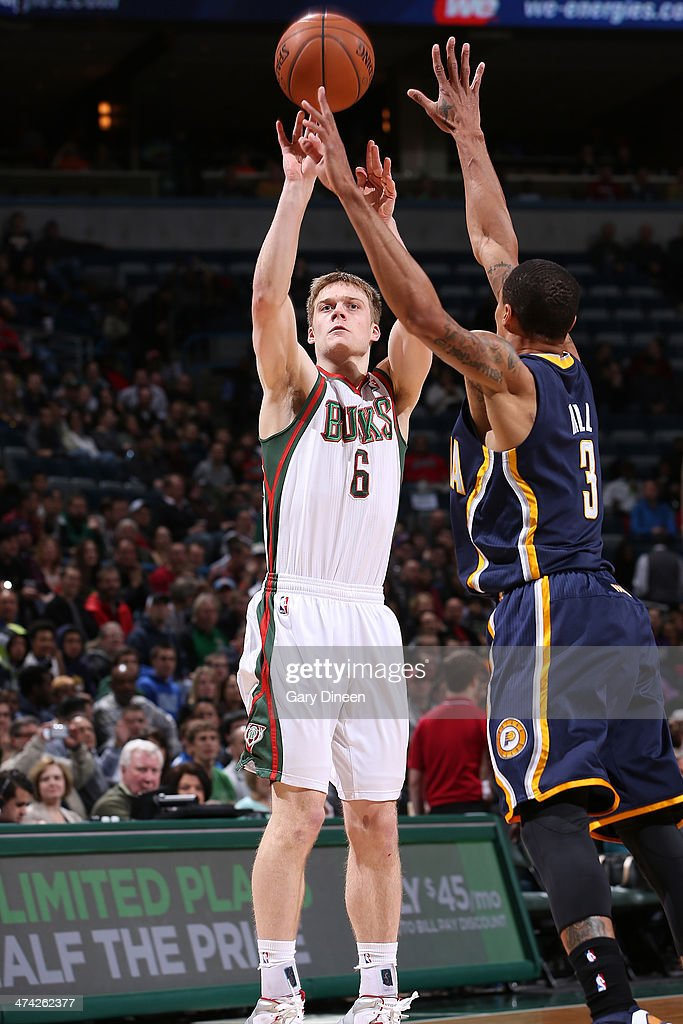 <a gi-track='captionPersonalityLinkClicked' href=/galleries/search?phrase=Nate+Wolters&family=editorial&specificpeople=9023990 ng-click='$event.stopPropagation()'>Nate Wolters</a> #6 of the Milwaukee Bucks shoots against the Indiana Pacers on February 22, 2014 at the BMO Harris Bradley Center in Milwaukee, Wisconsin.