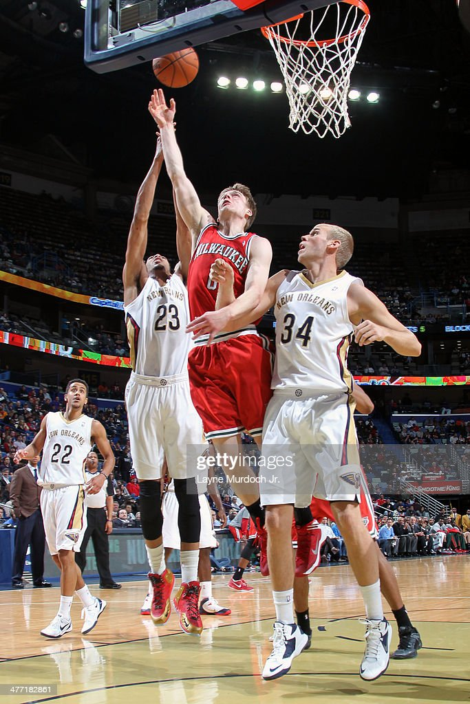 <a gi-track='captionPersonalityLinkClicked' href=/galleries/search?phrase=Nate+Wolters&family=editorial&specificpeople=9023990 ng-click='$event.stopPropagation()'>Nate Wolters</a> #6 of the Milwaukee Bucks takes a shot against the New Orleans Pelicans on March 7, 2014 at the Smoothie King Center in New Orleans, Louisiana.