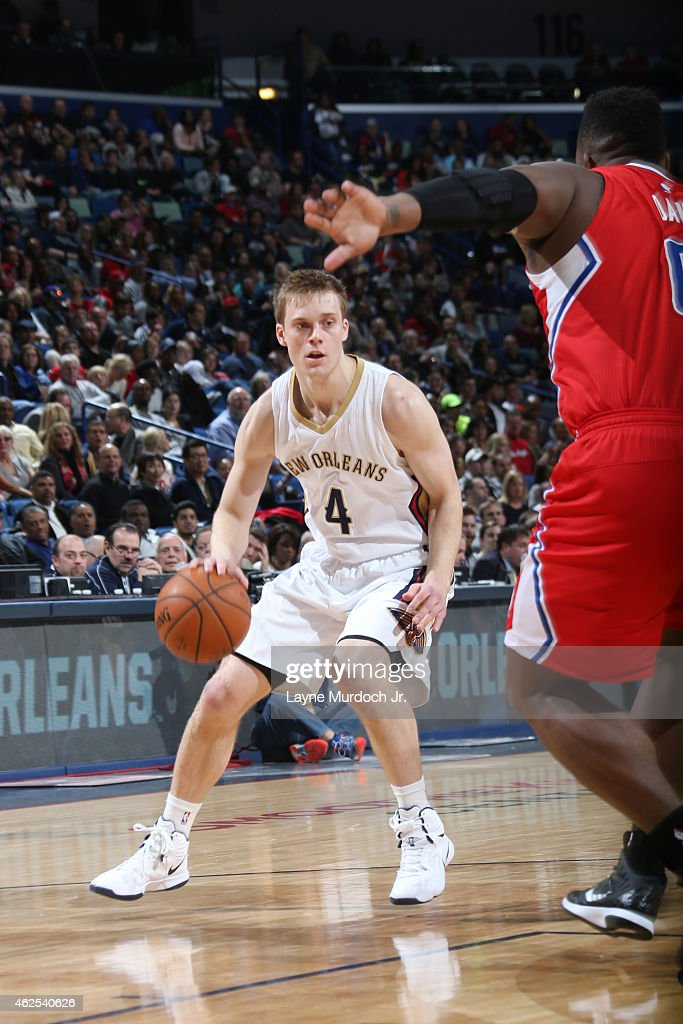 <a gi-track='captionPersonalityLinkClicked' href=/galleries/search?phrase=Nate+Wolters&family=editorial&specificpeople=9023990 ng-click='$event.stopPropagation()'>Nate Wolters</a> #4 of the New Orleans Pelicans looks to move the ball against the Los Angeles Clippersduring the game on January 29, 2015 at Smoothie King Center in New Orleans, Louisiana .
