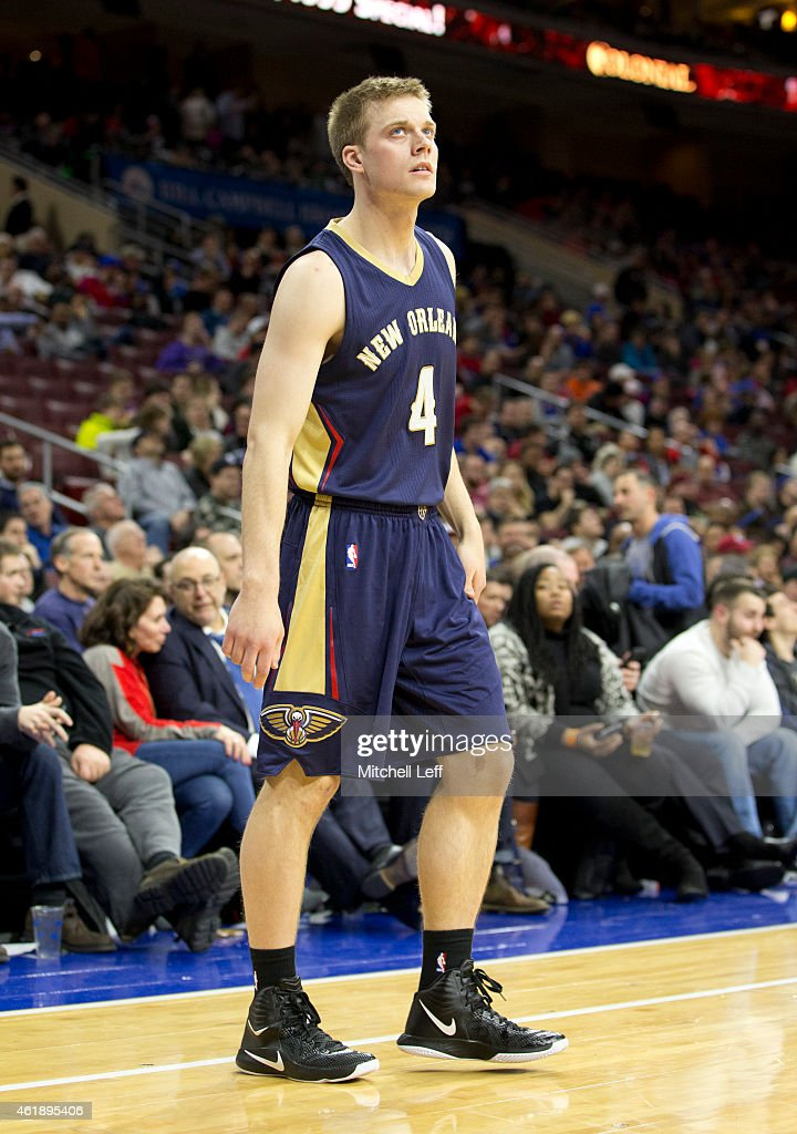 <a gi-track='captionPersonalityLinkClicked' href=/galleries/search?phrase=Nate+Wolters&family=editorial&specificpeople=9023990 ng-click='$event.stopPropagation()'>Nate Wolters</a> #4 of the New Orleans Pelicans plays in the game against the Philadelphia 76ers on January 16, 2015 at the Wells Fargo Center in Philadelphia, Pennsylvania.