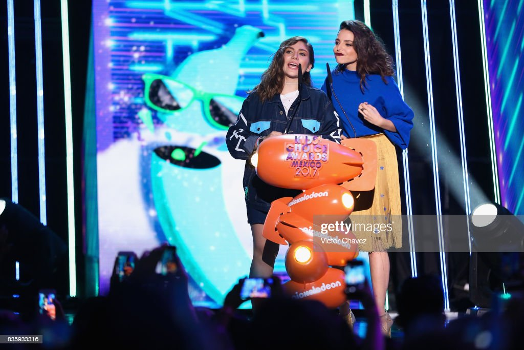 Nath Campos and Giselle Kuri speak onstage during the Nickelodeon Kids' Choice Awards Mexico 2017 at Auditorio Nacional on August 19, 2017 in Mexico City, Mexico.