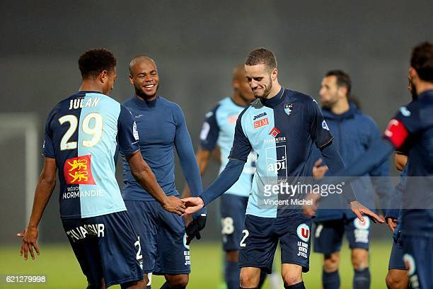 Nathael Julan of Le Havre and Victor Lekhal of Le Havre during the Ligue 2 match between Stade Lavallois and Le Havre AC on November 4 2016 in Laval...