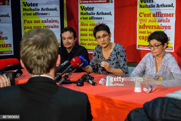 Nathalie Arthaud candidate in the presidential election of the party quotLutte Ouvrièrequot in meeting on April 12 in Lyon France